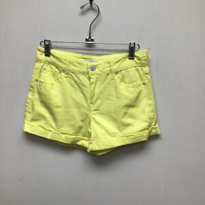Celebrity Pink Womens Cuffed Denim Shorts Lemonade Yellow Juniors 3/26 New
