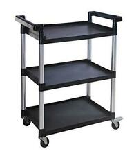 Maxworks 80774 3 Shelf Utility Plastic Cart With Wheels 225 Lbs Maximum