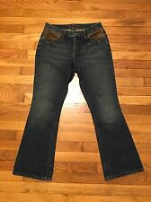 RL Ralph Lauren Women's Size 8 Boot Cut Jeans Leather Pockets Dark Wash