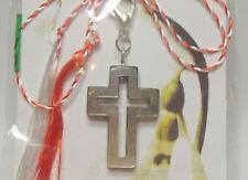 Martisor, Charm, Anhänger aus Perlmutt als Kreuz, handmade, Handarbeit