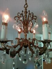Vintage 8 Arm Brass Crystal Chandelier