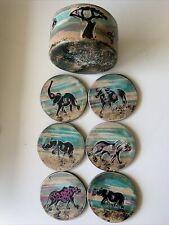 "New listing Coaster Set Stone African Animals Set of 6 with Base size 3 3/4"""