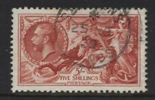 1934 5/- RE-ENGRAVED SEAHORSE SUPERB USED. SG 451