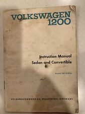 Original Volkswagen 1200 Sedan & Convertible Instruction Manual August 1963