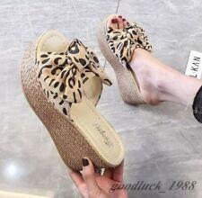 Womens Wedge Heels Platform Outdoor Slipper Open Toe Bowtie Leopard Casual Shoes