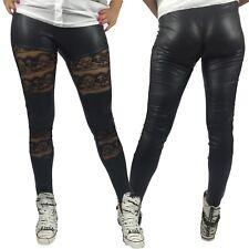 Leggings DONNA PIZZO M-L Pantacollant Color NERO Panta Collant NON STRESS SOFT