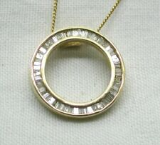 Vintage Beautiful Gold Capped Silver And 1 00 Carat Baguette Diamond Pendant