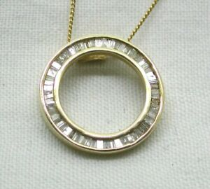 Vintage Beautiful Gold Capped Silver And 1 00 Carat Baguette Diamond Pendant