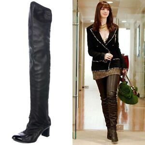 ICONIC CHANEL •38.5, 8 US • CC Logo Thigh High Black Lambskin Leather Heel Boots