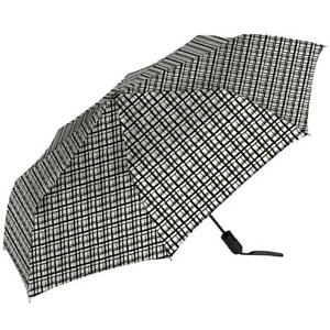 White Umbrella Black Lines Ultimate Shed Rain Auto Open Close w/Case Water Repel