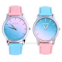 Fashion Women Girls Casual Quartz Analog Candy Color PU Leather Band Wrist Watch