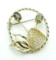 Smokey Quartz Colored Glass Rhinestone Gold Tone Flower Pin Brooch Vintage