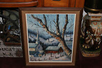 Vintage Kay Sasso Oil Painting-Snow Church Barn Trees Country Town-Detailed-LQQK