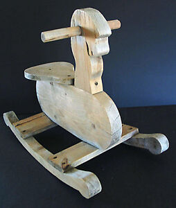 "Primitive Wood Wooden Childs Rocking Horse 24""L x 11.75""W x 18""H FREE SH"
