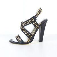 JIMMY CHOO Sandaletten Gr. 37,5 schwarz gold Damen Schuhe Shoes Pump High Heels