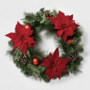 28in Christmas Red Poinsettia With Ornaments Artificial Pine Wreaths 2 Qty NWT