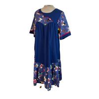 Vintage RM Made In Hawaii Muumuu Dress Blue Geisha Print M Medium