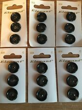 6 Cards of Elegant Dark Grey Mottled 18mm Buttons 4 Hole Sewing/Knitting/Crafts