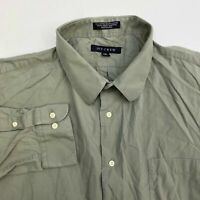 Ivy Crew Button Up Shirt Mens Size 2XL 34/35 Long Sleeve Green Gray Casual