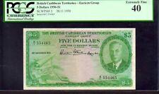 "BRITISH CARIBBEAN TERRITORIES P3 $5 1950 PCGS 40 RARE ""KING GEORGE VI"" ""MAP NOTE"