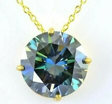 10 Ct Certified Blue Diamond Solitaire Pendant In Yellow Gold,Excellent Cut!