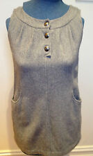 HI THERE by KAREN WALKER Light Grey Wool Blend Sleeveless Lined Shift Dress 10