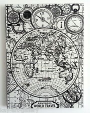 Wall Picture Plaque , Vintage Retro style Handmade  / Map World /  Decoupage