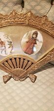 Vintage Victorian Hand Fan cameo Frame Gold Layered