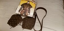 Medieval long belt + Fur Cape Barbarian Leather Bracers Viking Larp Great Price