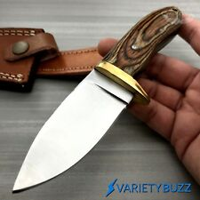 Hunting Survival Skinning Fixed Blade Knife Full Tang + Leather Sheath WOOD -NEW