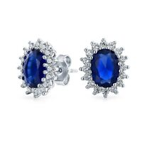 5CT Oval Blue Stud Earrings  Simulated Sapphire CZ Halo Crown sterling Silver