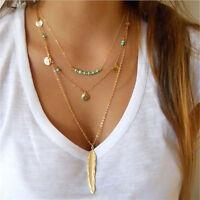 Mode Multilayer Perlen Feder Damen Anhänger Halskette Fashion Party Elegant