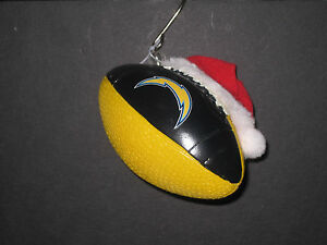 CHARGERS NFL Team Ball Christmas Ornament with Santa Hat -NEW