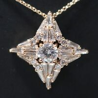 AAA Cubic Zirconia Pendant Necklace Women Wedding Jewelry 14K Rose Gold Plated