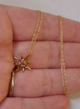 """Beautiful 14kt Yellow Gold & Pink Amethyst Pendant On 14kt Chain - 18"""" Long"""