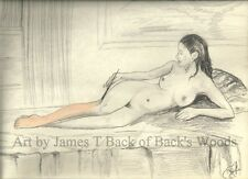 Maria the artist ACEO print Nude Female girl painting creation color grey figure