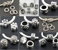 Silver Big Hole Spacer Beads Fit European Fashion DIY Charms Bracelet