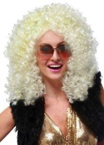 Dancehall Diva Blonde 1970s 1980s Hippie Hippy Disco Women Costume Wig