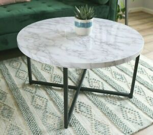 Marble-Look Round Coffee Table Modern Lightweight Contemporary Style