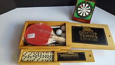 Desktop Tennis Game - Dominoes Set - Magnetic Darts - With Cases - 2 New