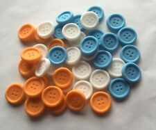 30 Small Edible Giggle Hoot orange blue White Buttons Cake Cupcake Decorations