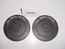 SS UNITED STATES LINES  Pair of Shuffleboard Pucks /  Promonade Deck Locker