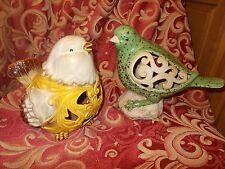 2 LARGE FAT CUTE Ceramic Bird Swallow Statues - Glazed Finish