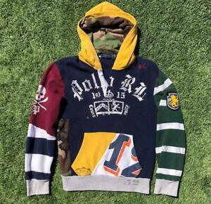 Polo Ralph Lauren Skull Skeleton Stadium Patchwork Hood Rugby Sweat Shirt XS