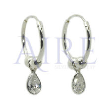 925 Sterling Silver Stunning Sleeper Style Hoop Earrings with CZ Tear Charm