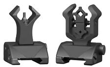 Premium Tactical Diamond Aperture Flip Up Front Rear Iron Sights Set BUIS Black