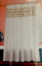 Opal house Metallic Gold Floral Border Shower Curtain Fresh White Opalhouse