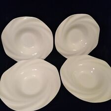 """Lot of 4 Sasaki WINDSWEPT 9 1/2"""" Rimmed Soup Bowls White Mint Condition"""