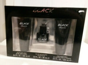 Black Kenneth Cole after shave balm cologne spray hair body wash gift set NOS