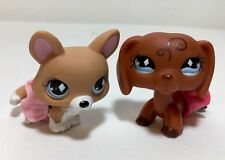 Littlest Pet Shop #640 Swirl Dachshund Puppy & #639 Corgy Dog.